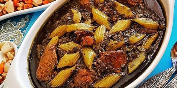 طرز تهیه خورش کرفس با رب و لوبیا , دستور پخت خورشت کرفس با سبزی خشک و گوشت قرمز