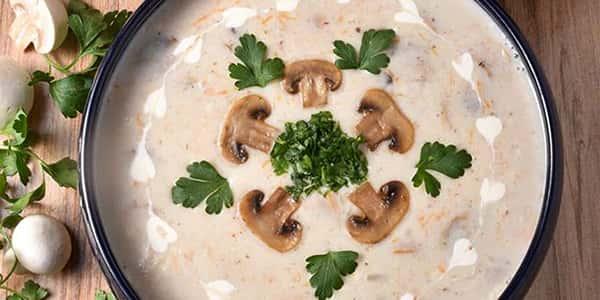 طرز تهیه سوپ قارچ رستورانی خوشمزه و مجلسی , دستور پخت سوپ قارچ با مرغ و شیر و جو