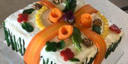 طرز تهیه کیک مرغ ساده خوشمزه و مجلسی رستورانی با گردو