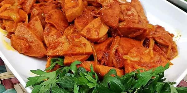طرز تهیه سوسیس بندری بدون سیب زمینی , دستور پخت سوسیس بندری با قارچ خانگی , xvc jidi s sds fknvd